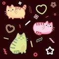 Cat kawaii style, kitten, kitty, pet vector on dark background
