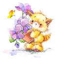 Cat. kid background for celebrate festival and birthday party. watercolor