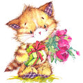 Cat. kid background for celebrate festival and birthday party. watercolor Royalty Free Stock Photo