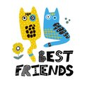 Cat or kitten best friends illustration in scandinavian style. Cartoon animal for poster,decor, book illustration. Cute character. Royalty Free Stock Photo