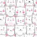 Cat, kitty - cute, funny pattern. Royalty Free Stock Photo