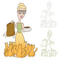 Cat Lady Feeding Food To Her Pets Royalty Free Stock Photography