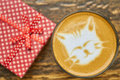 Cat latte art top view. Royalty Free Stock Photo