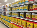 Cat litter on shelves for sale at grocery store Royalty Free Stock Photo