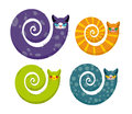Cat with long tail. Snake cat. Set of fantastic animals color c