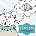 Cat in love card Stock Image