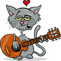 Cat in love cartoon illustration valentines day of funny playing the guitar and singing Royalty Free Stock Photos