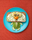 Cat made of bread and vegetables Royalty Free Stock Photo