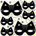 Cat mask animal party disguise carnival pattern with sparkling gold stars holiday seamless on white background Stock Photos