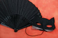 Cat mask with fan black for costume party Stock Image