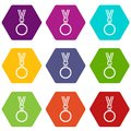 Cat medal icon set color hexahedron Royalty Free Stock Photo