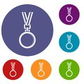 Cat medal icons set Royalty Free Stock Photo