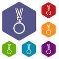 Cat medal icons set hexagon Royalty Free Stock Photo