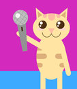 Cat with microphone funny cartoon style Stock Image