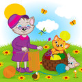Cat mother knits kittens playing with balls of yarn vector illustration eps Stock Image