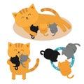Cat mother laying on the floor feeding kittens. Father hugging two kitten Kitty hug. Animal family. Three kittens drinking milk fr