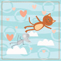 Cat and mouse falls in love cartoon Royalty Free Stock Photo