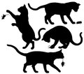 Cat and mouse four editable vector silhouettes of a playing with a Royalty Free Stock Photo