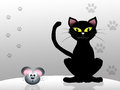 Cat and mouse illustration of black Royalty Free Stock Photography