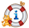 Cat mouse and lifesaver floating illustration of a on a white Royalty Free Stock Images