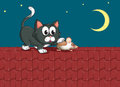 A cat and a mouse at the rooftop illustration of Royalty Free Stock Images