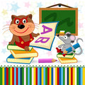 Cat mouse in school vector illustration Royalty Free Stock Photography