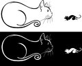 A cat and a mouse stylized line drawing Stock Photos