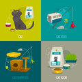 Cat objects square compositions, vector cartoon illustration, pet care concepts Royalty Free Stock Photo