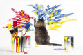 Cat Painting Wall Royalty Free Stock Photo