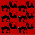 Cat pattern isolated on red background Royalty Free Stock Photo