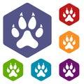 Cat paw icons set hexagon