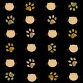 Cat And Paw Prints Black And G...