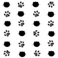 Cat And Paw Prints Black White...