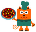 Cat pizza a humorous illustration of a carrying a Royalty Free Stock Images