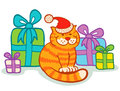 Cat and presents illustration of Stock Image