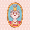 Cat princess doodle vector illustration Royalty Free Stock Photo