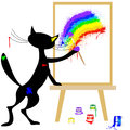 Cat and rainbow Stock Photos