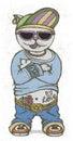 Cat rapper. Vector illustration