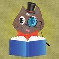 Cat reading a book colorful illustration with for your design Stock Images