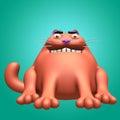Cat red devil 3D illustration