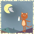 A cat on the roof and a mouse on the moon Royalty Free Stock Image