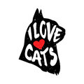 The cat`s head in profile with heart and lettering text I Love Cats. Vector illustration