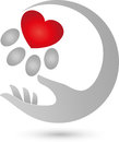 Cat`s paw with heart and hand, heart for cats logo