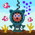 Cat scuba illustration of a under the sea while wearing a diver s suit Royalty Free Stock Image