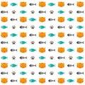 Cat seamless pattern, cute kitten fish, and fishbone, cartoon background, vector, illustration Royalty Free Stock Photo