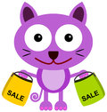 Cat shops a cartoon illustration of a carrying two shopping bags Royalty Free Stock Image