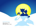 Cat silhouette in winter sunset - vector Royalty Free Stock Photo