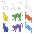 Cat silhouettes collection, unstroke path