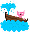 Cat sinks a cartoon illustration of a sinking in a boat Stock Images