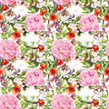 Cat sleeping in grass and flowers. Floral seamless pattern Royalty Free Stock Photo